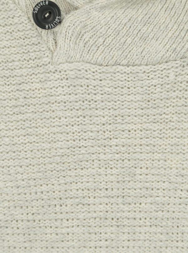 Krémový melírovaný pánsky sveter s golierom s.Oliver