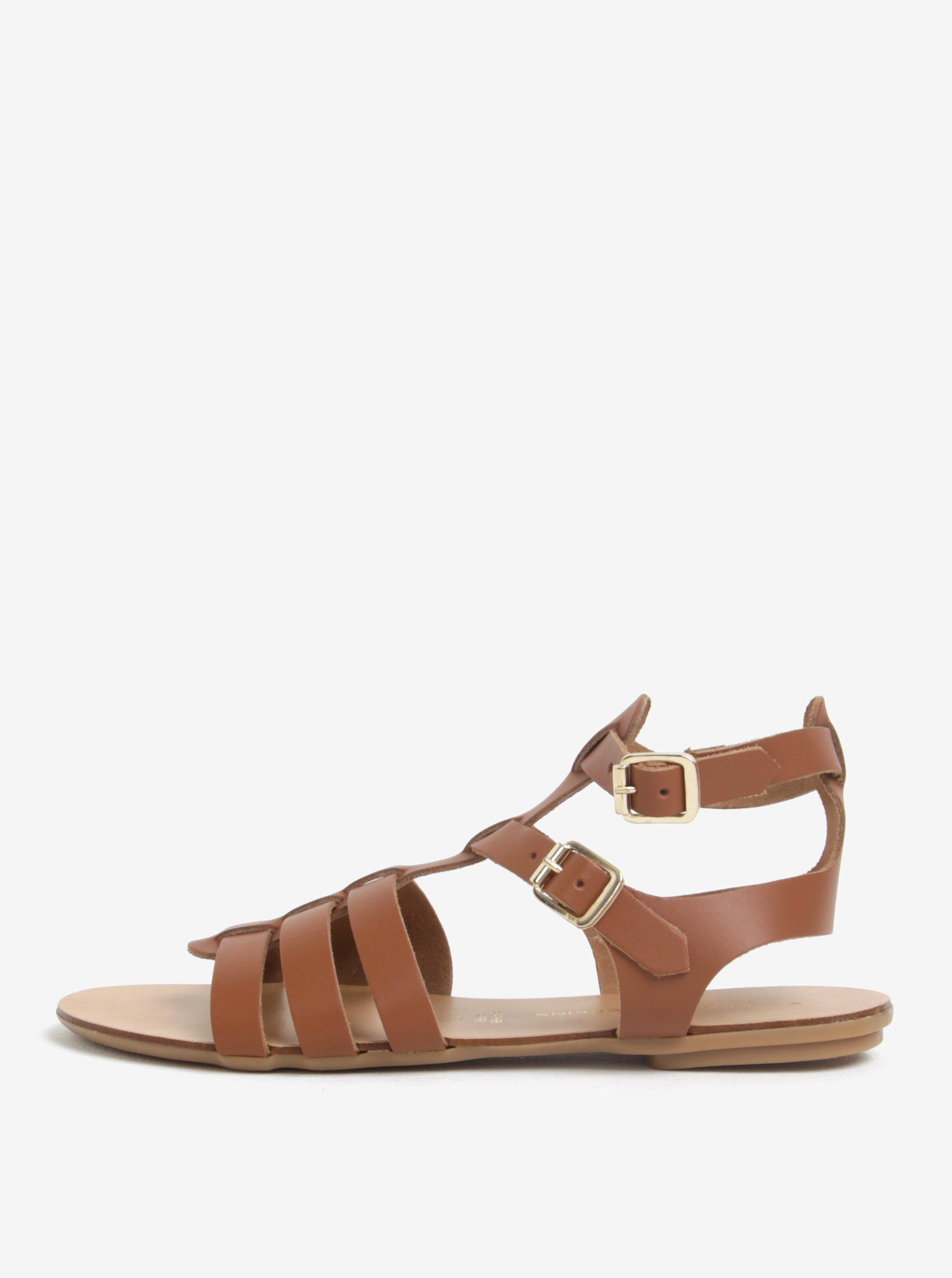 cd3a04085f5e Hnedé kožené sandále Dorothy Perkins