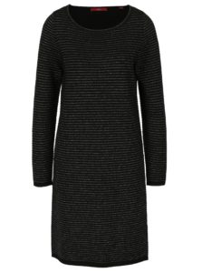 Čierne ligotavé svetrové pruhované šaty s.Oliver