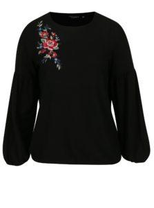 Čierny sveter s kvetovanou výšivkou Dorothy Perkins Curve