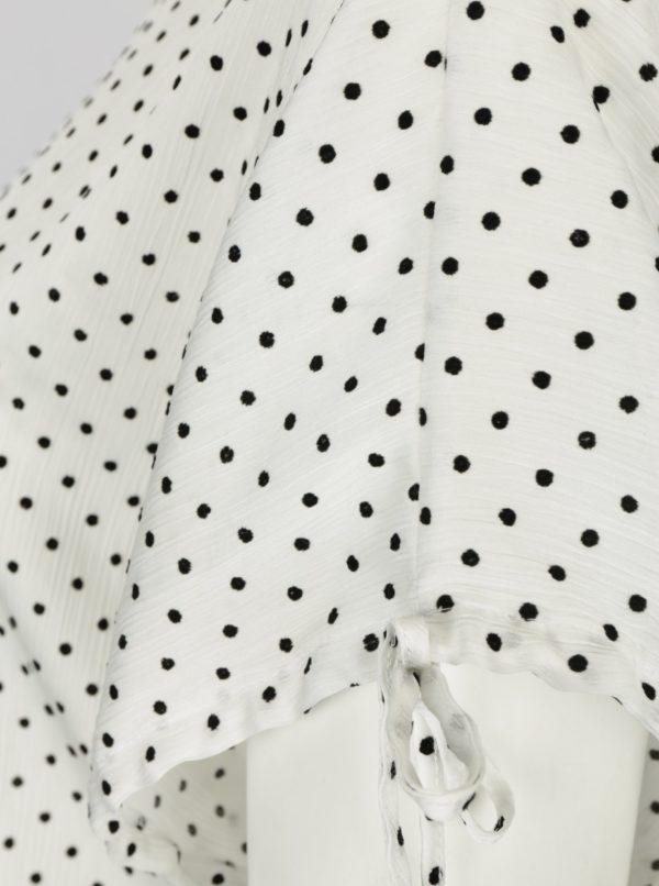 Biela bodkovaná voľná blúzka Dorothy Perkins Curve