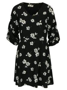 Čierne kvetované šaty s riasením na rukávoch Dorothy Perkins Curve