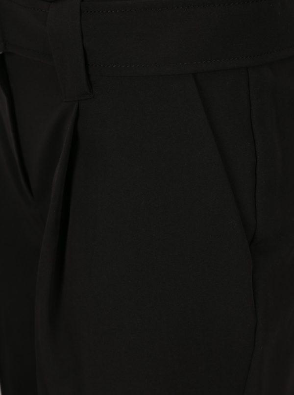 Čierne skrátené nohavice s opaskom Dorothy Perkins