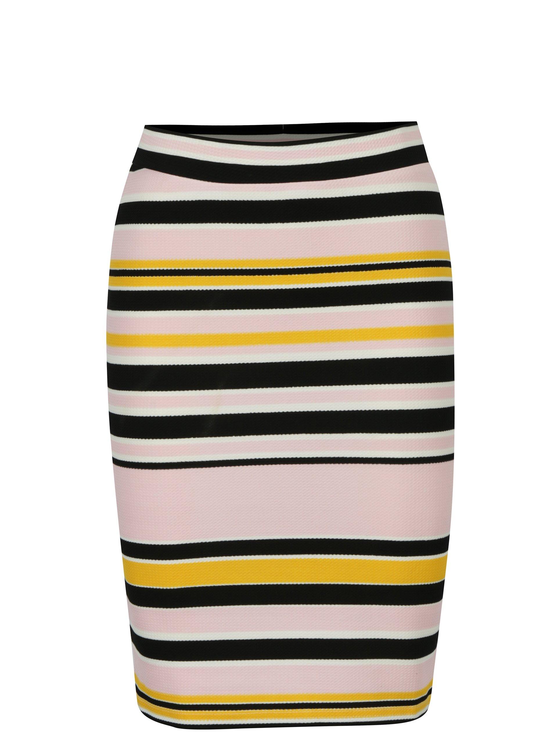 360431ba256e Čierno-ružová pruhovaná puzdrová sukňa Noisy May Lina