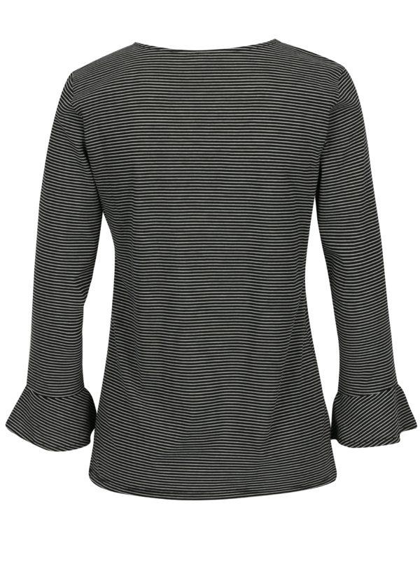 Čierne pruhované tričko s volánmi Jacqueline de Yong Cloud