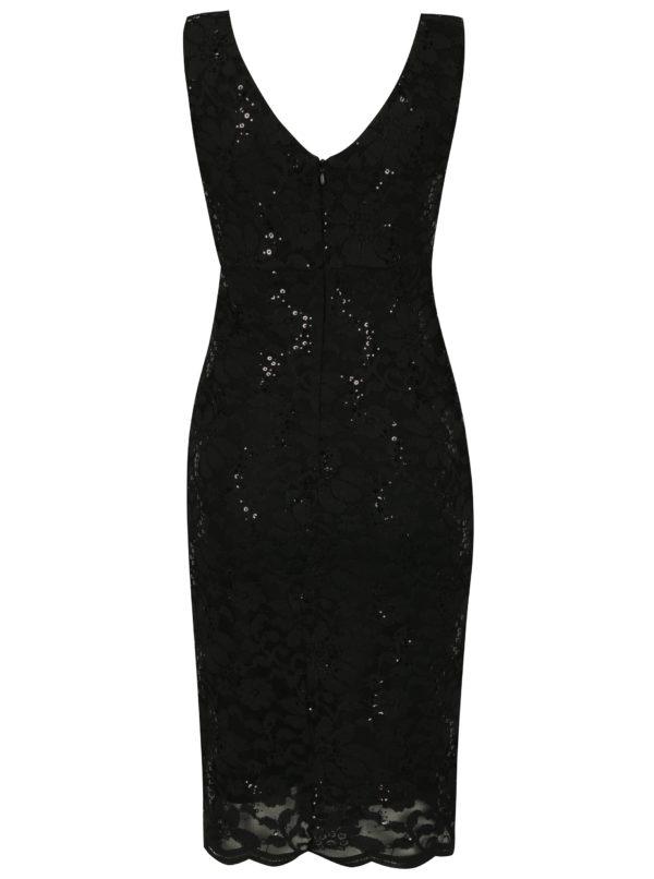 Čierne čipkové šaty s flitrami a prekladaným výstrihom Scarlett B