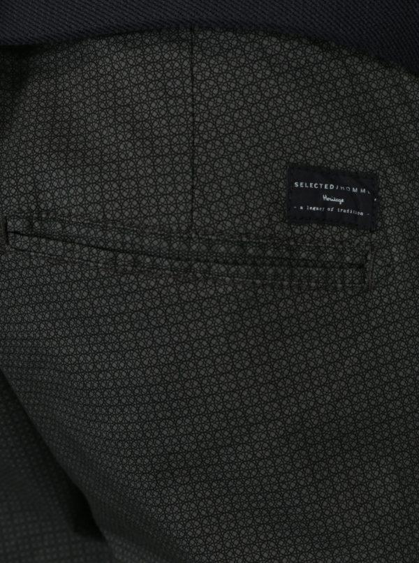 Tmavosivé vzorované nohavice Selected Homme Yard