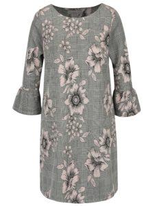 Ružovo-sivé vzorované šaty s 3/4 rukávmi Dorothy Perkins Petite