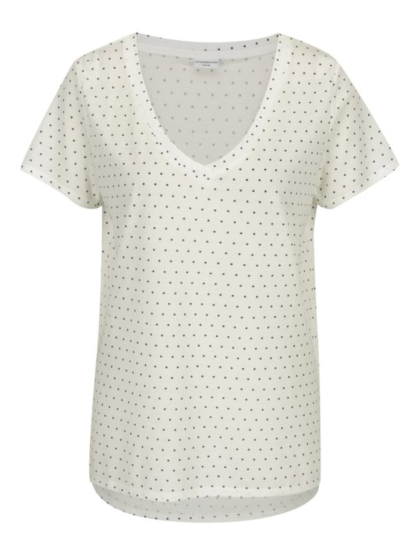 Krémové voľné bodkované tričko Jacqueline de Yong Cloud