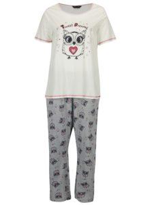 Sivo-krémové pyžamo s potlačou sov Dorothy Perkins Curve