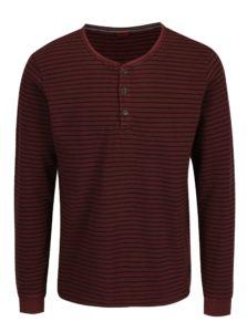 Červené pánske pruhované tričko s gombíkmi s.Oliver