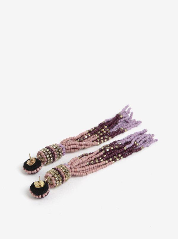 Fialové korálikové náušnice Pieces Venice