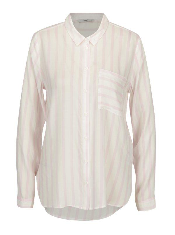 Ružovo-krémová pruhovaná košeľa ONLY Candy