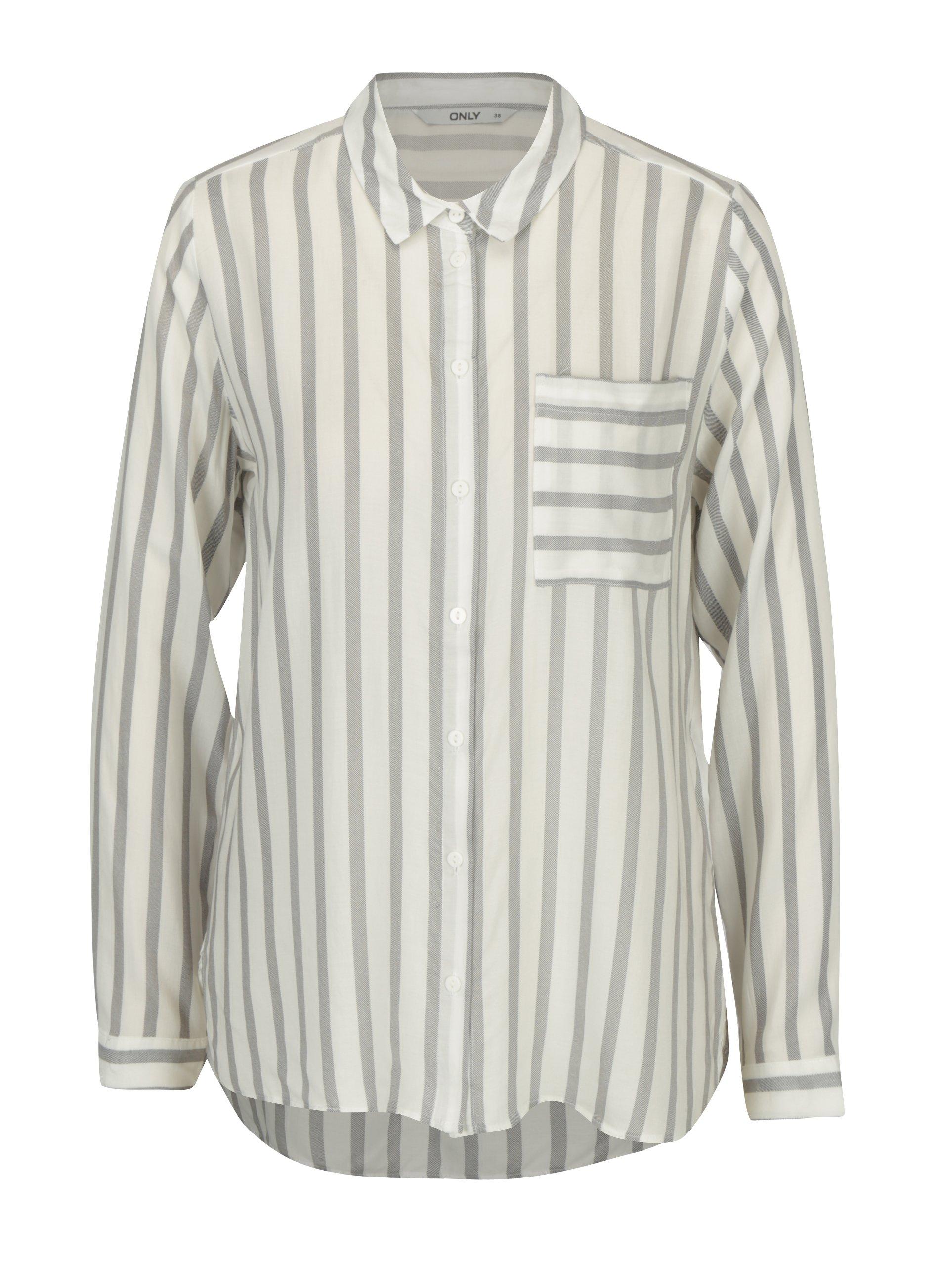 e0aeb649b235 Sivo-krémová pruhovaná košeľa ONLY Candy