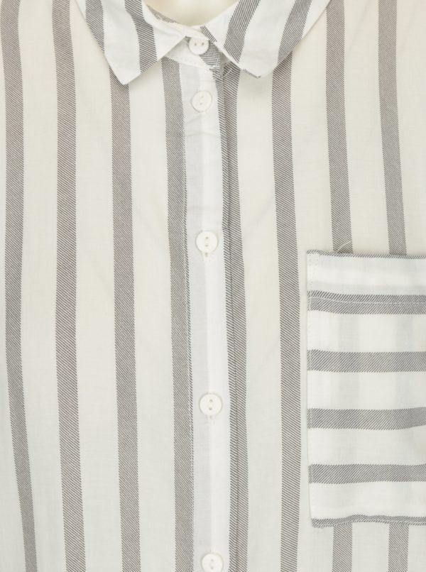 Sivo-krémová pruhovaná košeľa ONLY Candy