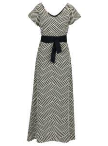 Krémové vzorované maxišaty s opaskom La femme Mi