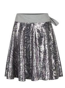 Vzorovaná sukňa na zavinovanie s flitrami v striebornej farbe La femme MiMi