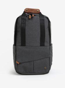 Tmavosivý unusex vodovzdorný batoh s koženými detailmi PKG