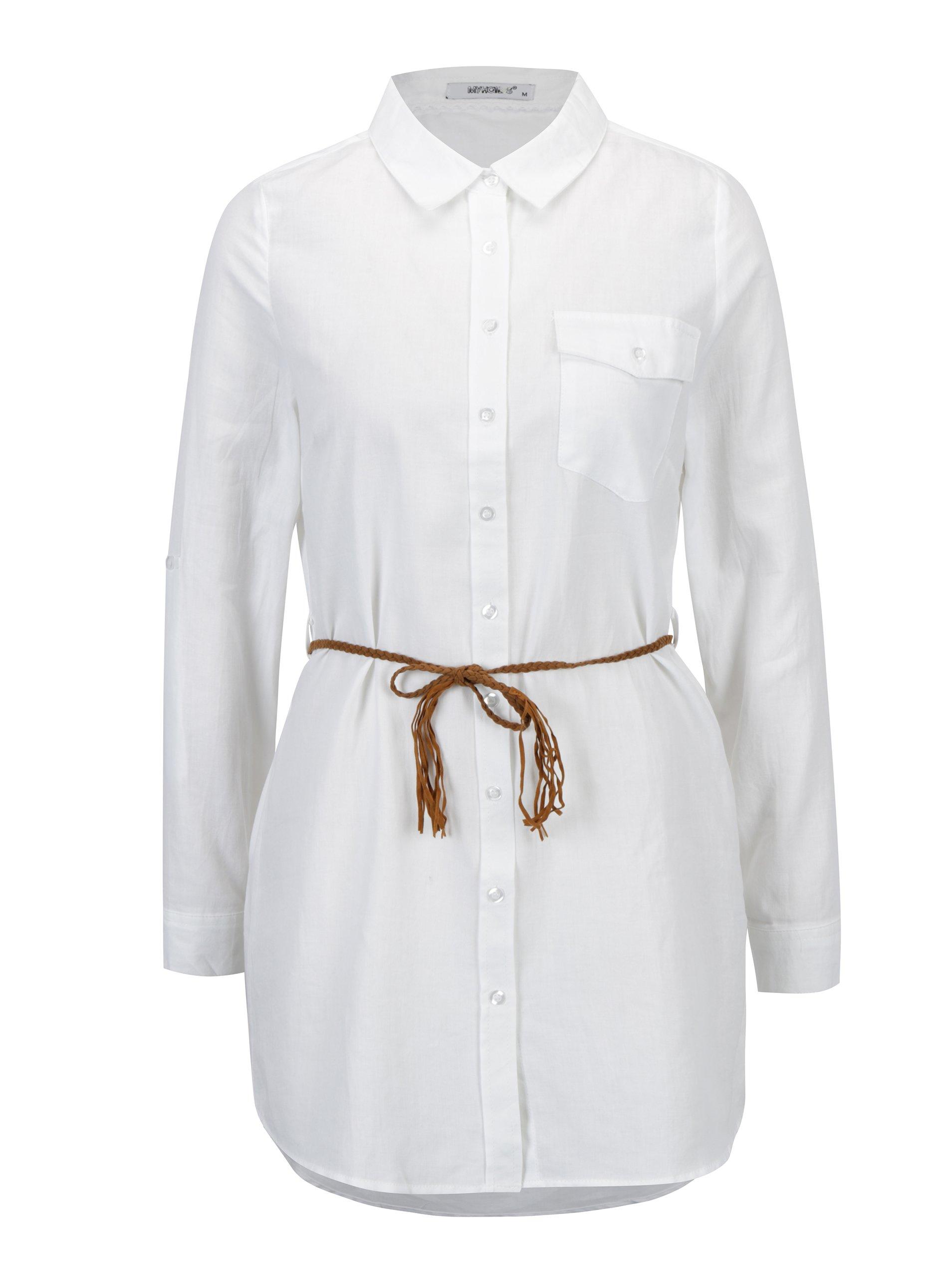 e7c37b6c47f1 Biela dlhá košeľa s opaskom Haily´s Larissa