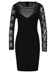 Čierne šaty s čipkou French Connection Mia