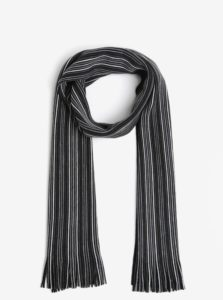 Sivo-čierny pruhovaný šál Burton Menswear London