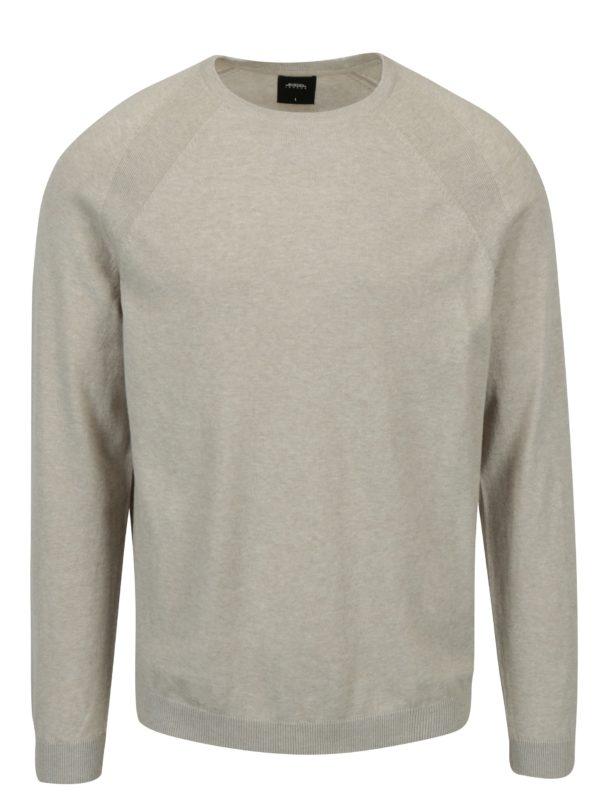 Béžový tenký sveter s okrúhlym výstrihom Burton Menswear London