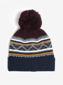 Modro-vínová vzorovaná čiapka Burton Menswear London