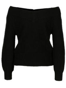 Čierny sveter s odhalenými ramenami s prímesou vlny Miss Selfridge