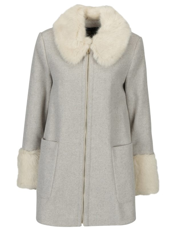 Béžový pruhovaný kabát s umelou kožušinou Miss Selfridge