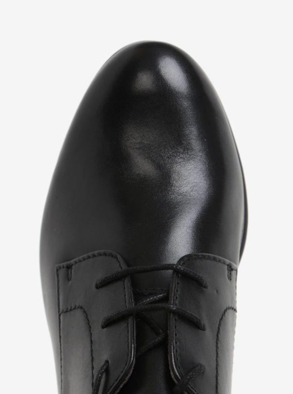 Čierne kožené poltopánky Tamaris