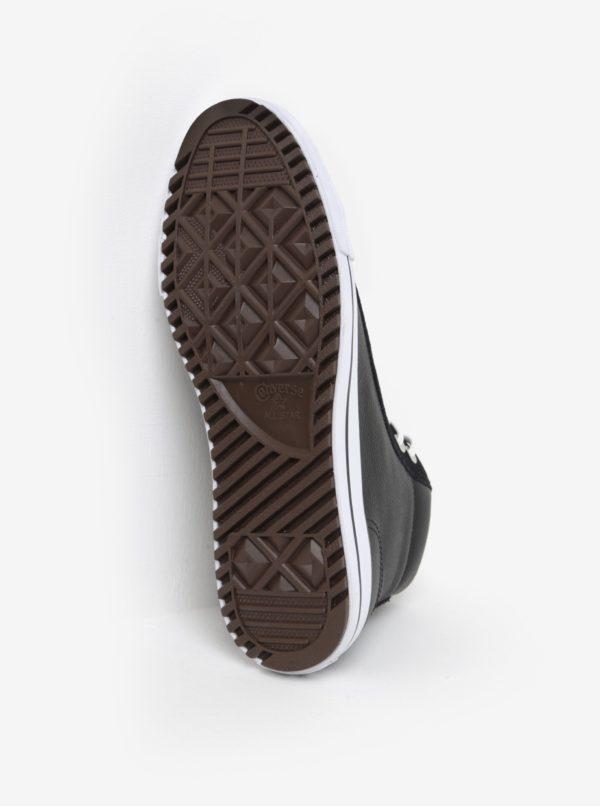 Čierne pánske kožené tenisky Converse Chuck Taylor