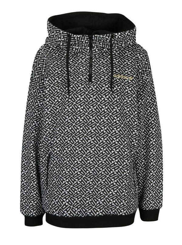 Bielo-čierna dámska vzorovaná mikina s kapucňou adidas Originals
