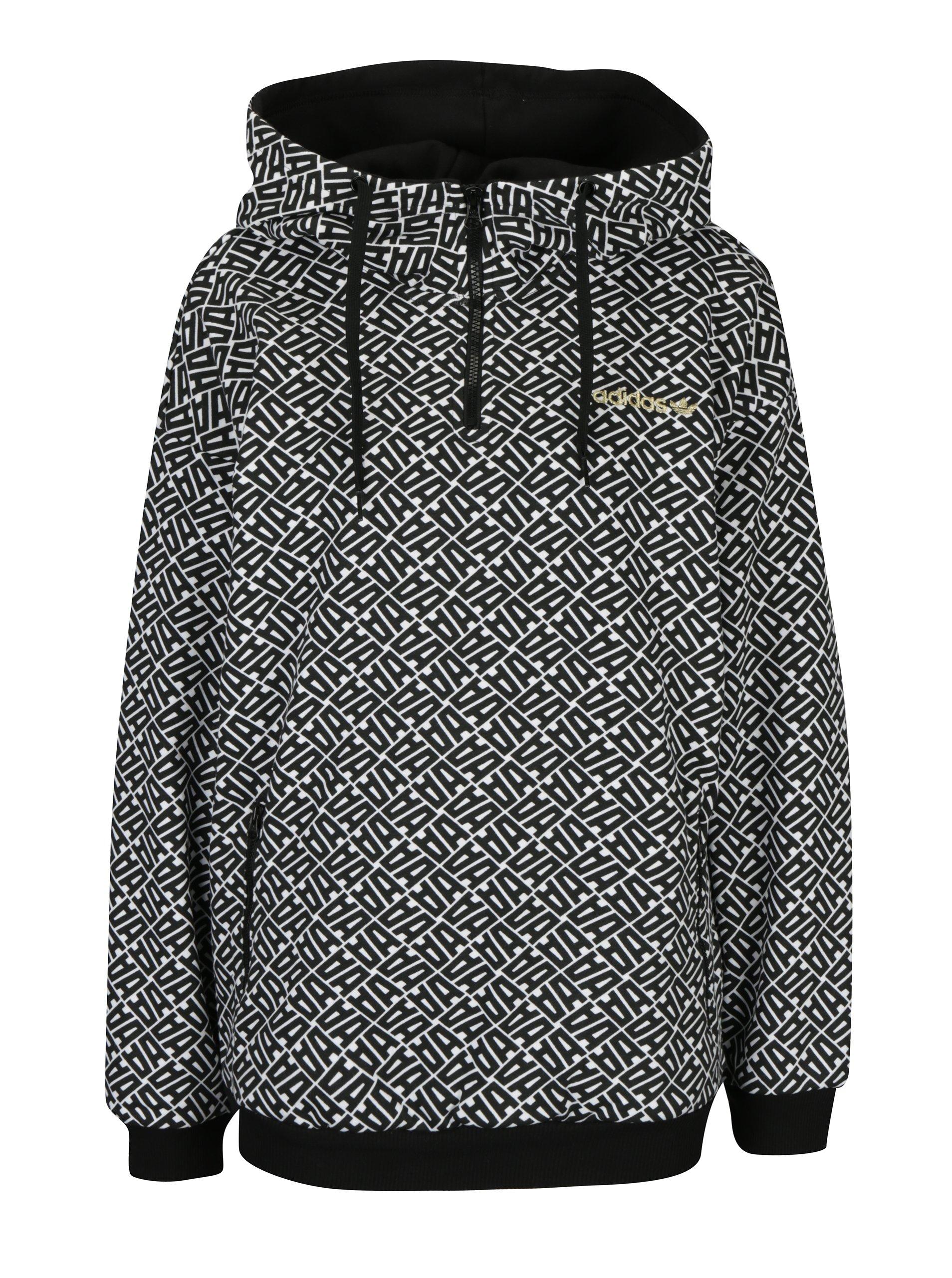 Bielo-čierna dámska vzorovaná mikina s kapucňou adidas Originals ... 0b5af0f6671