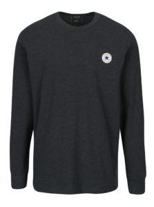 Tmavomodré pánske melírované tričko s dlhým rukávom Converse Tee Cuff
