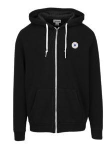 Čierna pánska mikina na zips s kapucňou Converse Core Full