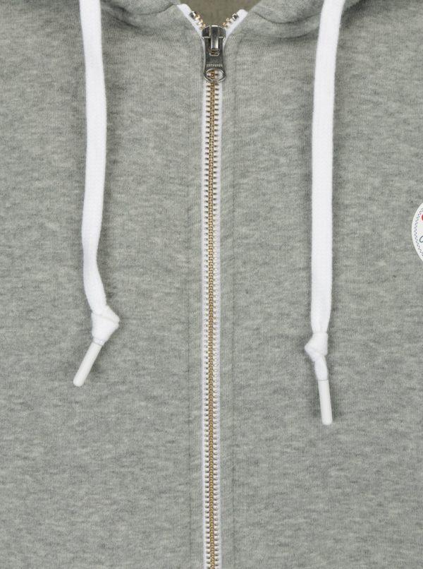 Svetlosivá pánska mikina na zips s kapucňou Converse Core Full