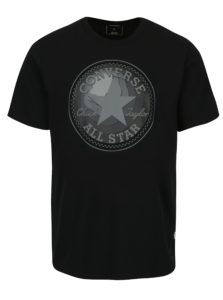 Čierne pánske tričko s potlačou Converse Dimensional Layer Chuckpatch