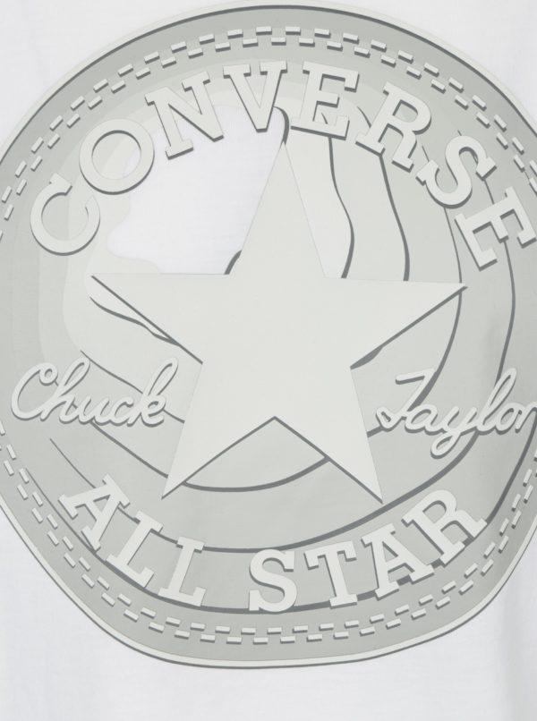 Biele pánske tričko s potlačou Converse Dimensional Layer Chuckpatch