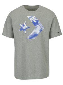Sivé pánske tričko s potlačou Converse Cons Star Chevron Photo