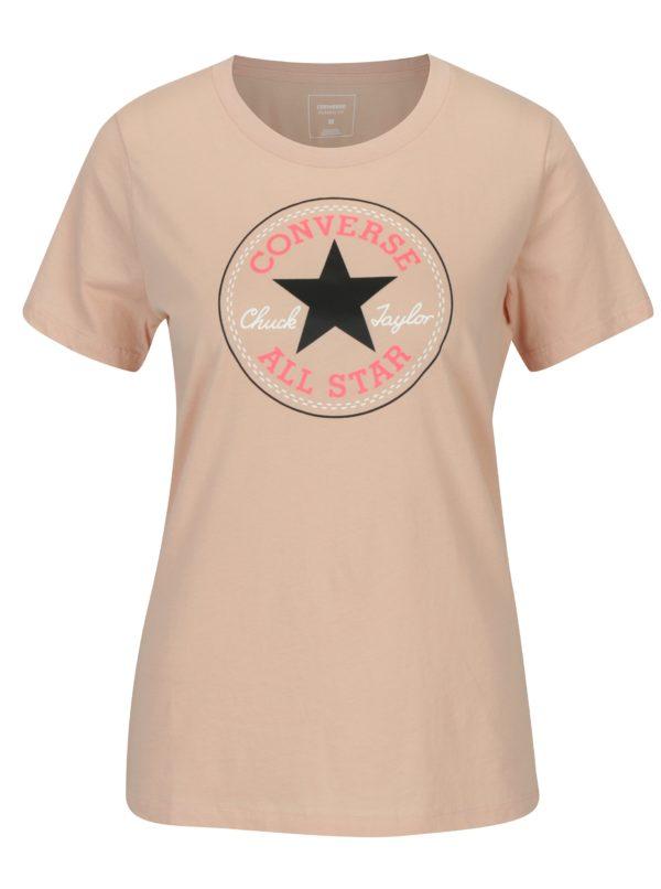 Svetloružové dámske tričko s potlačou Converse Core