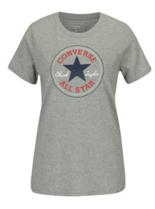 Sivé dámske melírované tričko s potlačou Converse Core