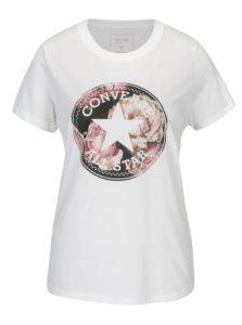 Krémové dámske tričko s potlačou Converse Floral