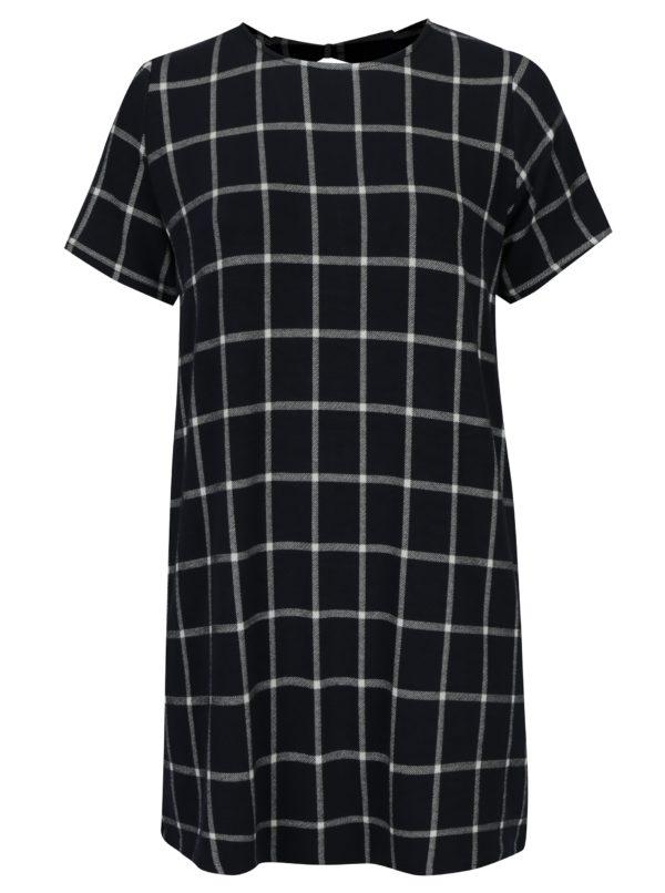 Tmavomodré kockované šaty s mašľami na chrbte Dorothy Perkins Curve