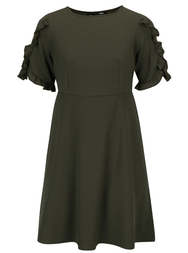 Kaki šaty s volánmi na rukávoch Dorothy Perkins Curve