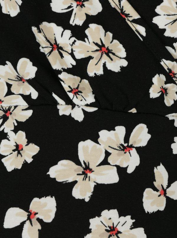 Čierne kvetované tehotenské tričko/tričko na kojenie Dorothy Perkins Maternity
