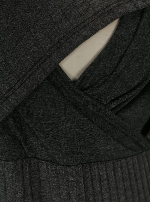 Sivé tehotenské rebrované šaty/šaty na kojenie Dorothy Perkins Maternity