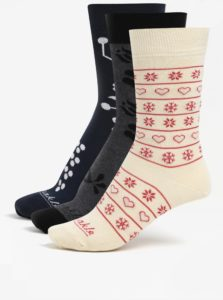 Súprava troch párov dámskych ponožiek v modrej farbe a v darčekovej krabičke Fusakle Srdiečka