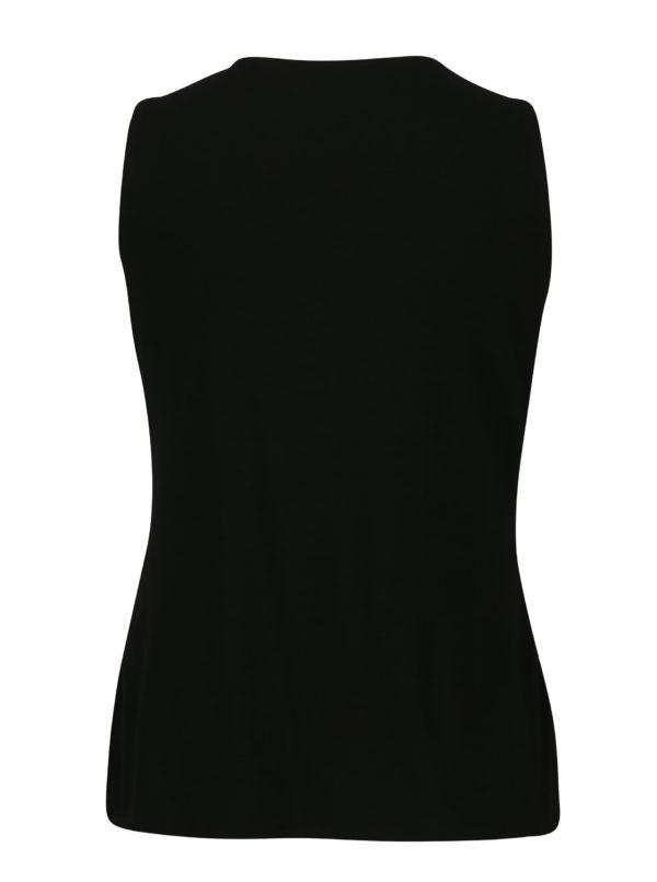 Strieborno-čierna čipkovaná blúzka bez rukávov Dorothy Perkins Petite