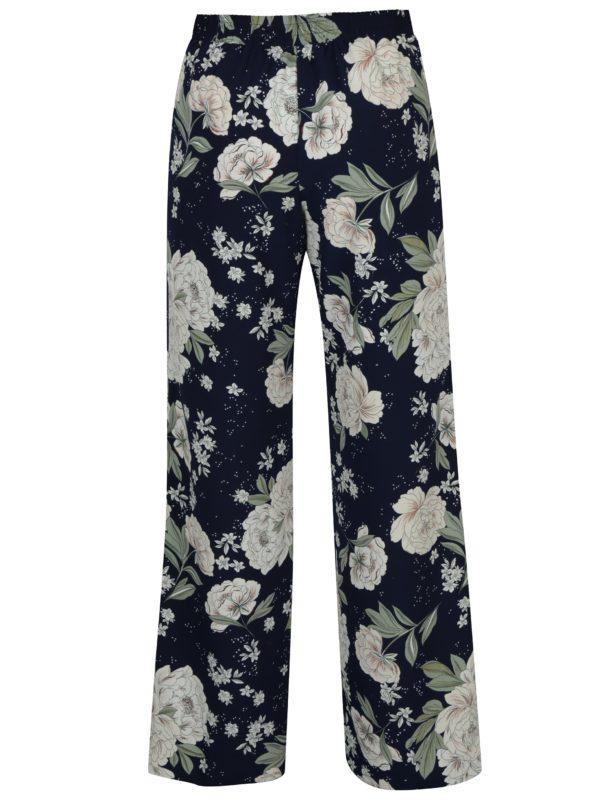 Tmavomodré tenké kvetované nohavice Dorothy Perkins