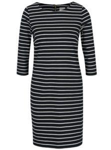 Tmavomodré pruhované šaty s 3/4 rukávom VILA Tinna